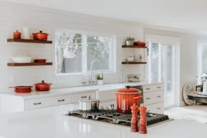 Use floating shelves for storage space