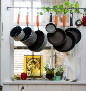 Hanging pots and pans to make room in your kitchen