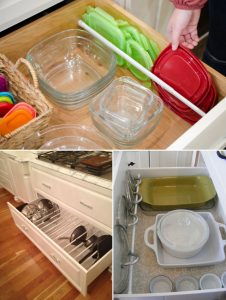 Using Tension Rods to Organize pots, pans, and tupperware
